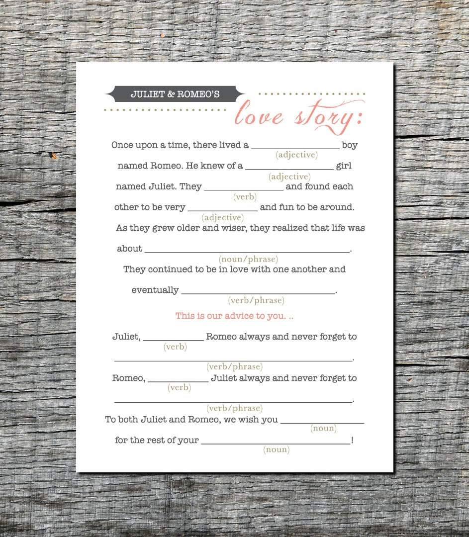 Mad Libs Love Story Wedding Card for Guests Wedding Mad Libs