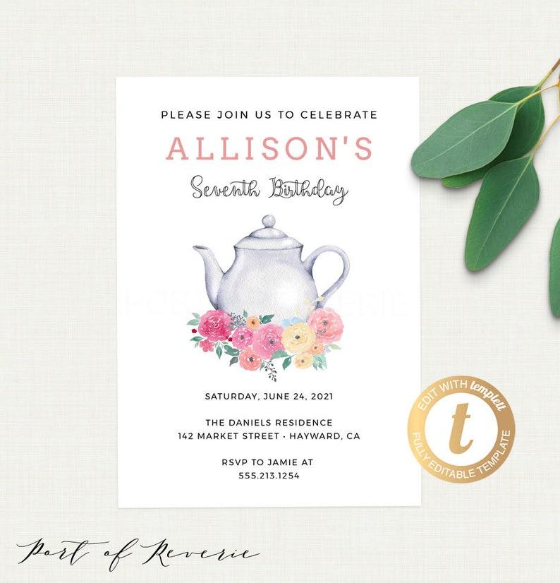 Tea Party Birthday Invitation Template Printable Girls Invite Editable Instant Download