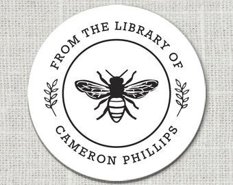 Honey Bee From the Library of Stickers, Custom Library Stickers, Book Stickers, Floral This Book Belongs to Stickers