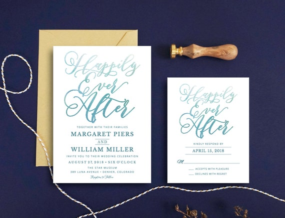 Happily Ever After Wedding Invitations: Happily Ever After Wedding Invitation Calligraphy Wedding