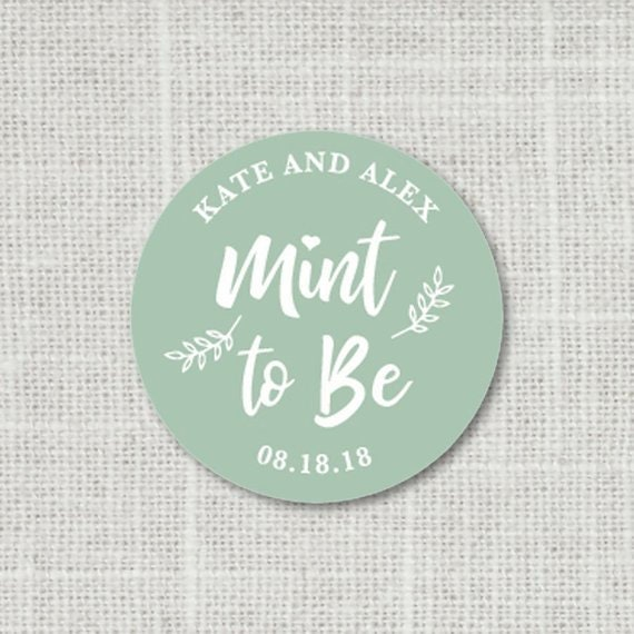 Name Wedding Stickers for Favors Wedding Mints F8:16 Mint To Be Wedding Stickers Wedding Favor Stickers Mint Favor Wedding Labels