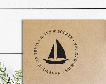 Sail Boat Address Stamp, Wooden Rubber or Self Inking Stamp, Nautical Return Address Stamp