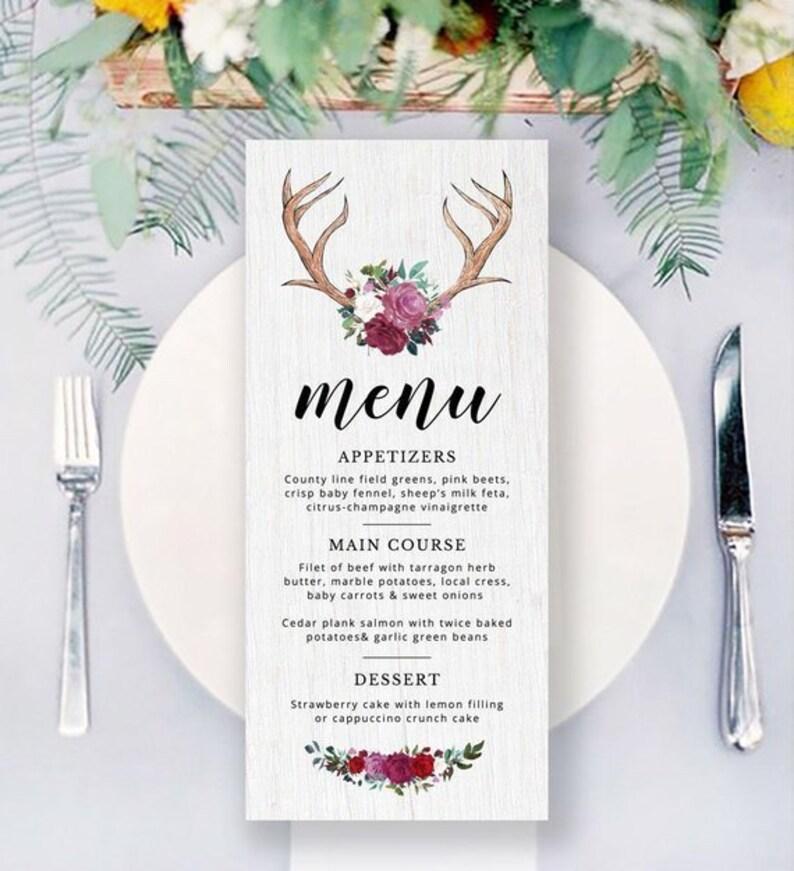 photograph relating to Deer Antler Printable Template called Wedding day Menu Printable Marriage Deer Antler Menu Woodland Menu Template Quick Down load Menu Printable Template Editable Reception Menu