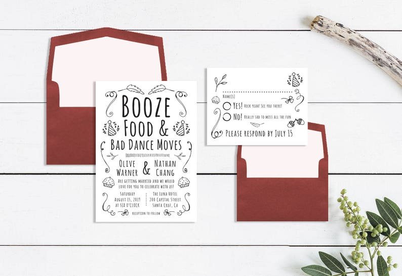 picture about Wedding Cards Printable referred to as Enjoyable Marriage ceremony Invites Humorous Marriage Invites RSVP Card Relaxed Wedding ceremony Invites Printable Marriage Invitation Kraft Paper Invites