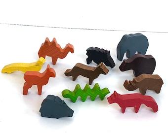 Vintage binbak wooden zoo playset with animals