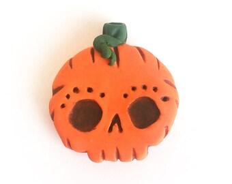 Halloween Jack'O Lantern Handmade Polymer Clay Lil'Skully's Pendant