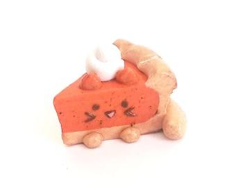 Pumpkitty Pie Slice Polymer Clay Kitty Kawaii Charm