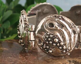 Robert Larin Pewter Bracelet - Vintage Brutalist Modernist Mid Century - Signed Plated Pewter Bubbles Bracelet - 1960s 1970s Montreal Quebec