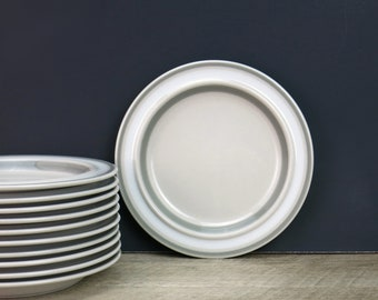 1980s Arabia Finland Salla Bread and Butter Plates - Ulla Procope Design - Soft Grey - Arabia Side Plates - Danish Modern - 11 Available