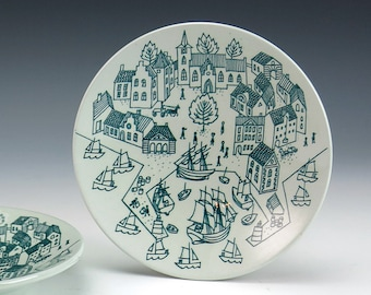 Nymolle Art Pottery Faience Saucers - Paul Hoyrup Design - Danish Denmark Limited Edition Pottery - Viking Town, Scandinavian Town Scene