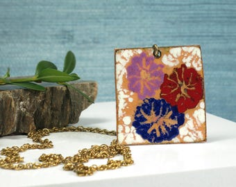 Floral Enamel on Copper Pendant Necklace - Flower Power 1970s Copper Art Pendant - Large Enameled Copper Art Necklace - Square Medallion