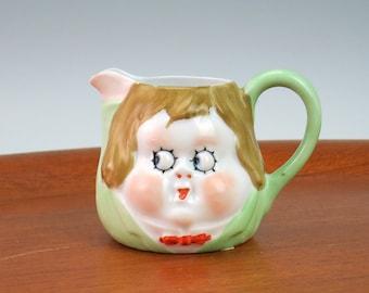 Antique Nippon Googly Eye Creamer Cream Pitcher - Nippon Rising Sun Mark - Googlies Peek-a-boo Cream Jug - Googly Eyed Doll Face Milk Jug