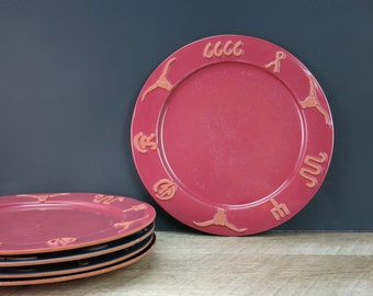 Choice of Frankoma Ranch Dinner Plates - Navy Blue, Black, Cabernet Red - Terra Cotta Cattle Brands 1990s Frankoma Old West Western