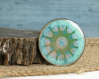 Gjedde Denmark Brooch - Henning Gjedde Enameled Copper Pin - Atomic Starburst Design Art Brooch - Modernist Danish Enamel - Scandinavian