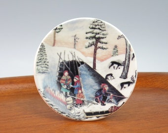 Arabia Finland Andreas Alariesto Camp-Fire Signed Wall Plaque -  A Alariesto Signed Plate Lapland Finland Series - Camping Plaque Plate