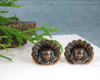 King Tut Screw Back Earrings - Vintage Egyptian Revival Pharoah Earrings - Large Copper Toned Metal Egyptian Tutankhamun Head Earrings