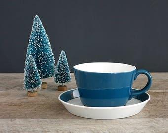 Arabia Finland Atria Blue Tea Cup and Saucer - Arabia Teal Turquoise Blue Cup and Banded Saucer - Arabia Atria Blue Flat Cup and Saucer Set
