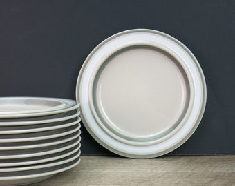 1980s Arabia Finland Salla Salad Plates, Side Plates - Ulla Procope Design - Soft Grey - Arabia Side Plates - Danish Modern - 10 Available