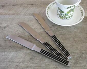 Dansk Thebe Dinner Knives - 3 Dansk Stainless Steel and Black Thebe Knives - Dansk Thebe Flatware - Gunnar Cyren Design - Dansk Designs