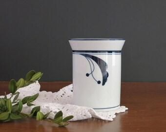 Dansk Flora Bayberry Blue Sugar Bowl - Dansk Blue and White Sugar Bowl - 1990s Niels Refsgaard Dansk Designs Flora Bayberry Blue Sugar Bowl