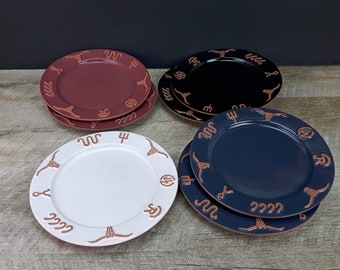 Choice of Frankoma Ranch Salad Plates - Navy Blue, Black, Cabernet Red, White - Terra Cotta Cattle Brands 1990s Frankoma Old West Western