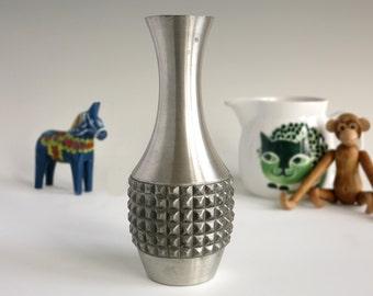 Mastad Norway Pewter Vase - Vintage Scandinavian Pewter Vase - Danish Modern Textured Pewter - Norwegian Pewter Metal Vase - Sculptural Vase