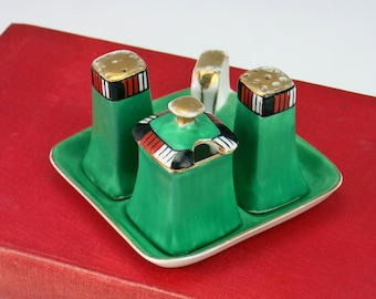 Noritake Art Deco Condiment Set - Noritake Lusterware Lustreware Salt and Pepper Shakers with Covered Mustard Pot - Green and Gilded