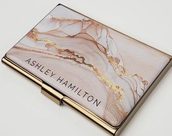Custom Business Card Holder, Pink Gold Card Case, Gift for her, Professional Slim Wallet, Rose Gold Business Card Gift, Banker Stylist E169