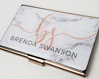 Personalised Silver Business Name Card Holder ID Credit Card Case Box Holder