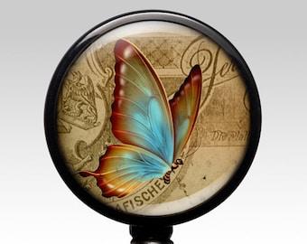 Dead Head Moth Badge Reel Black Retractable ID Tag Holder by Geek Badges