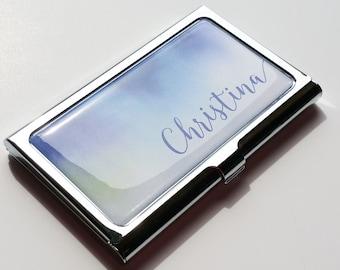 Personalized Business Card Holder, Custom Artist Business Card Case, Metal Credit Card Holder, Personalized Gift, Custom Coworker gift E04