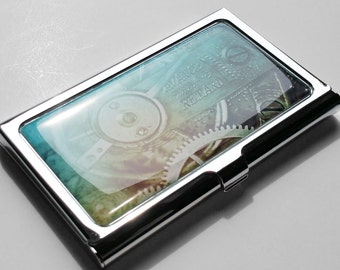 Business Card Holder, Mens Business Card Case, Steampunk Metal Credit Card Holder, Personalized Gift, Custom Gift for Him, Staff Gift E08