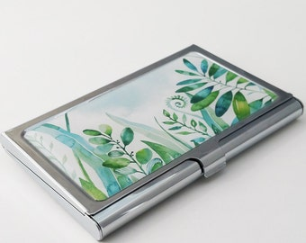Business Card Holder, Custom Watercolor Tropical Plants Business Card Case, Metal Credit Card Holder, Personalized Staff Coworker Gift E19