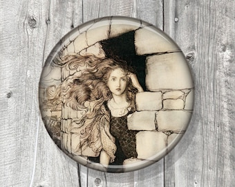 Pocket Mirror - Photo Mirror - Rackham - Romantic - Compact Mirror Vintage Illustration - gift under 5 - party favor A64