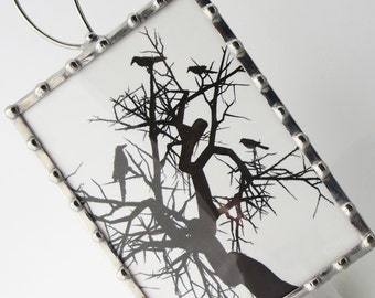 Night Light Crows - Nightlight Birds Crows in a Tree - Kids Night Light - Glass Night Light - Black White Silhouette N36
