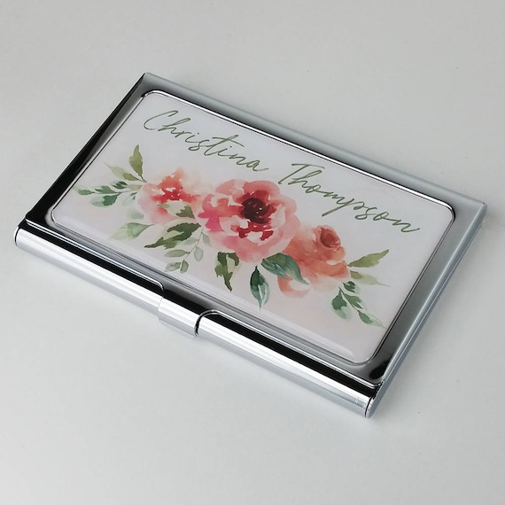Personalized Business Card Case Pink Flowers Business Card Holder