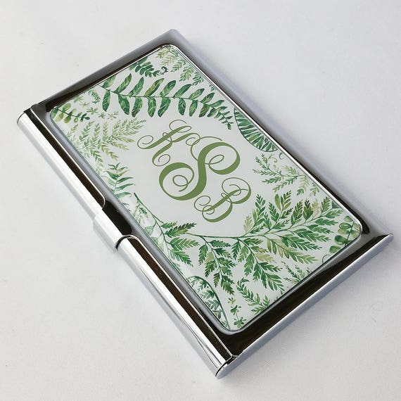 Personalized Business Card Holder Monogram Fern Business Card Etsy