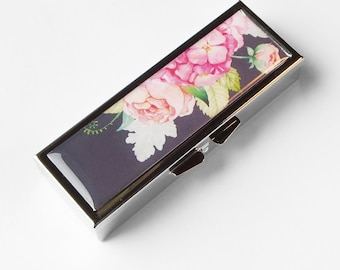 Pill Box, pill case Watercolor Flowers pill container gift for mom, gift for her medicine vitamin organizer suppliment medication holder P50