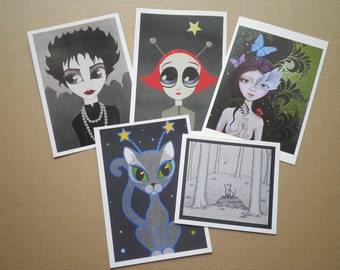 set of five art giftcards
