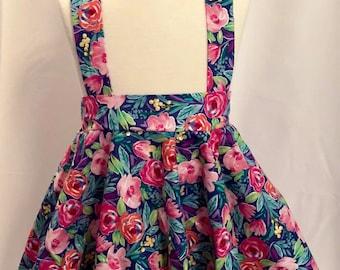 Summer Floral Suspender Skirt