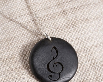 Black Ebony Treble Clef Pendant