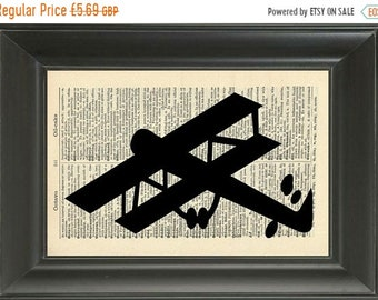 40% OFF SALE Vintage Airplane Dictionary Art Print - 282B - Vintage Dictionary Page - Upcycled Page - Aeroplane Silhouette - Wall Art