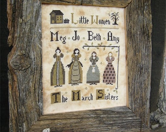 Primitive cross stitch pattern: Little Women