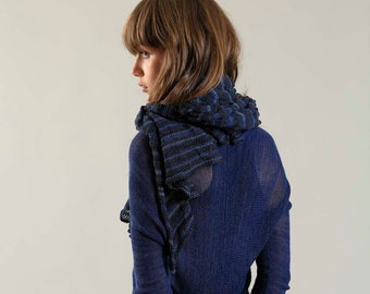 Stylish Blue Scarf, Cozy Soft Cotton Scarf, Bamboo Soy Striped Knit Scarf, Charcoal Black Navy Blue Winter Unisex Hand-Knitted Scarf