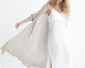 Long Flowing Beige Hand Knitted Cardigan, Elegant Ankle Length Hand Knit Summer Cardigan, Women Open Long Sweater Cardigan