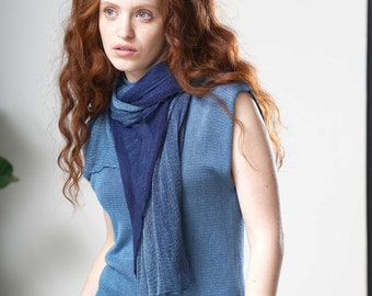 Light Blue Turquoise Ombre Aqua Sheer Wrap Scarf, Women's Knitted Scarf, Light Vegan Silk Scarf, Minimalist All Year Shawl Scarf
