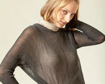 Black Blouse ,Women knitted top, transparent shirt, oversize top
