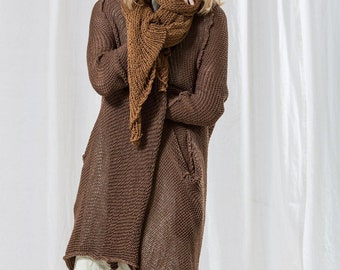Brown Cozy Hand Knit Cardigan For Women, Organic Knitwear, Long Cardigan Sweater, Casual Winter Cardigan
