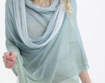 Light Blue Mint Ombre Aqua Sheer Knit Shawl, Bamboo Summer Scarf