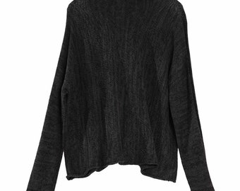 For Lisa - Black Soy Turtleneck Knit Top, Luxurious Knit Sheer With Thumb Holes Sleeves, Casual One Size Soy Shirt, Women Organic Knitwear
